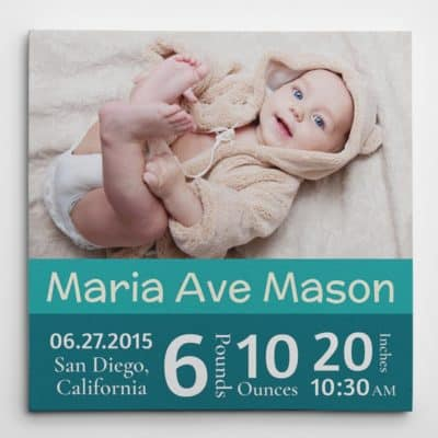 best mothers day gift for new moms: baby's birth stats custom photo canvas
