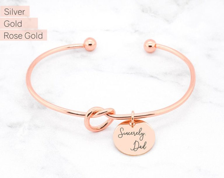 mothers day gift for her: handwriting knot bracelet