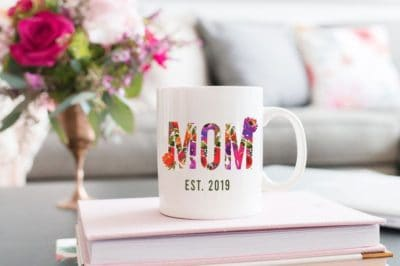first mothers day gifts: mom est ceramic coffee mug