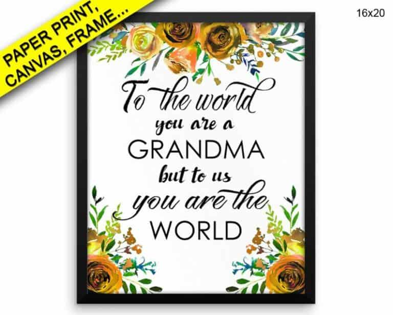number one grandma gifts - to the world grandma canvas art