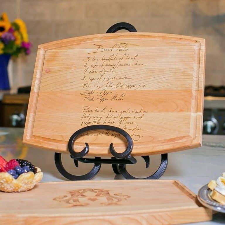 handwritten recipe engraved cheese board