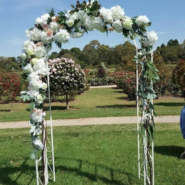 simple floral metal archway