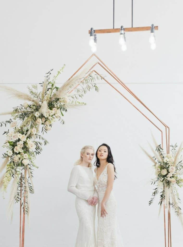 industrial metal wedding arbor