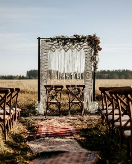 macrame knot wedding arbor