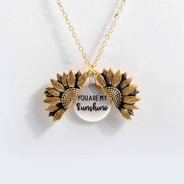 mother's day gift idea: you are my sunshine sunflower necklace