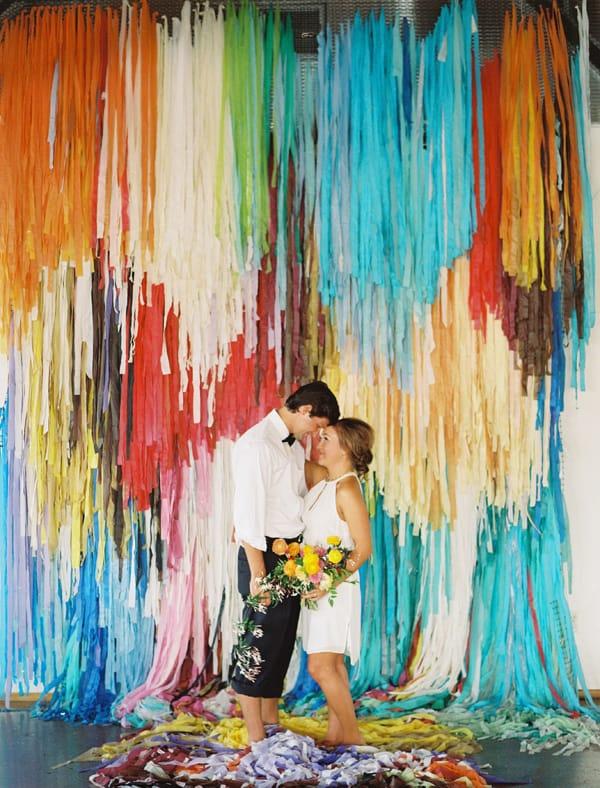 color pop wedding backdrop idea