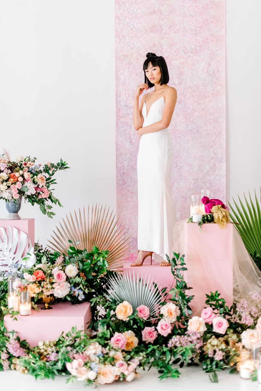 vibrant floral ceremony backdrop