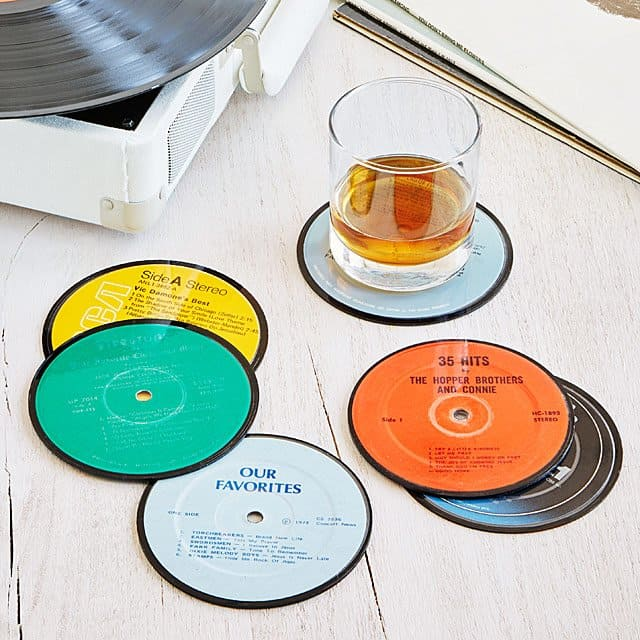 uprecycled record coasters