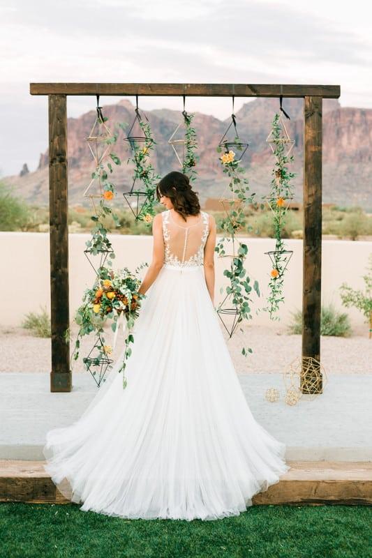 geometric wedding ceremony backdrop