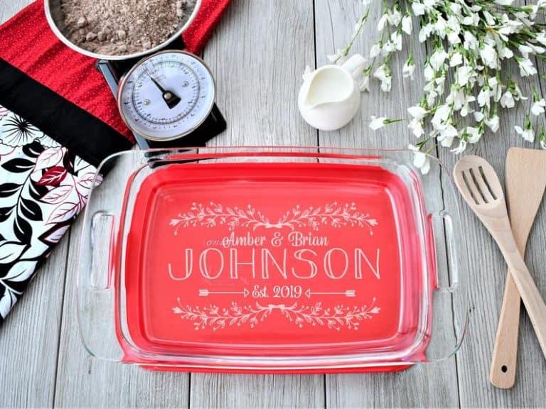personalized baking gifts: personalized casserole dish