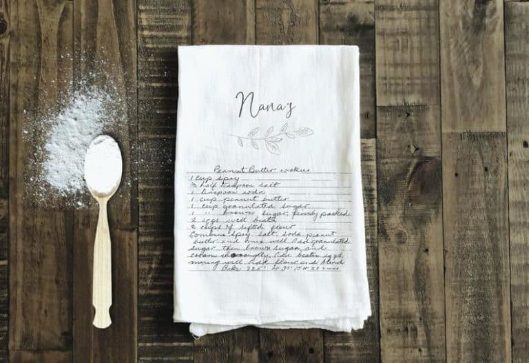 gift for a baker: recipe tea towel