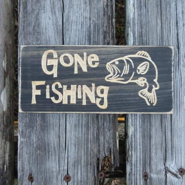 gone fishing sign for lake house decor