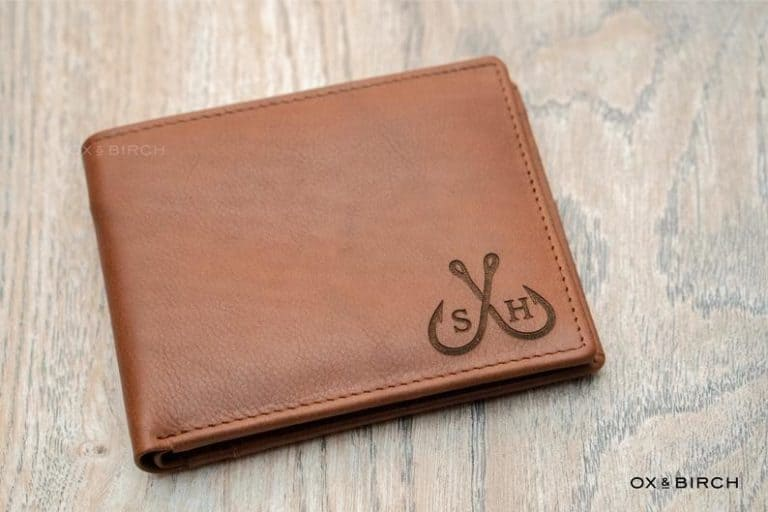 custom fishing gift for dad: leather wallet