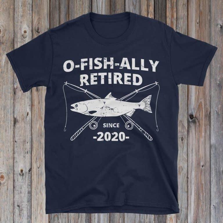 retirement gift for fishermen: retired tshirt