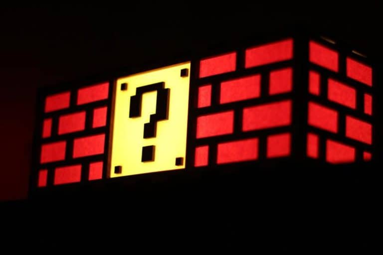 gifts for gamers: mario question mark block lamp