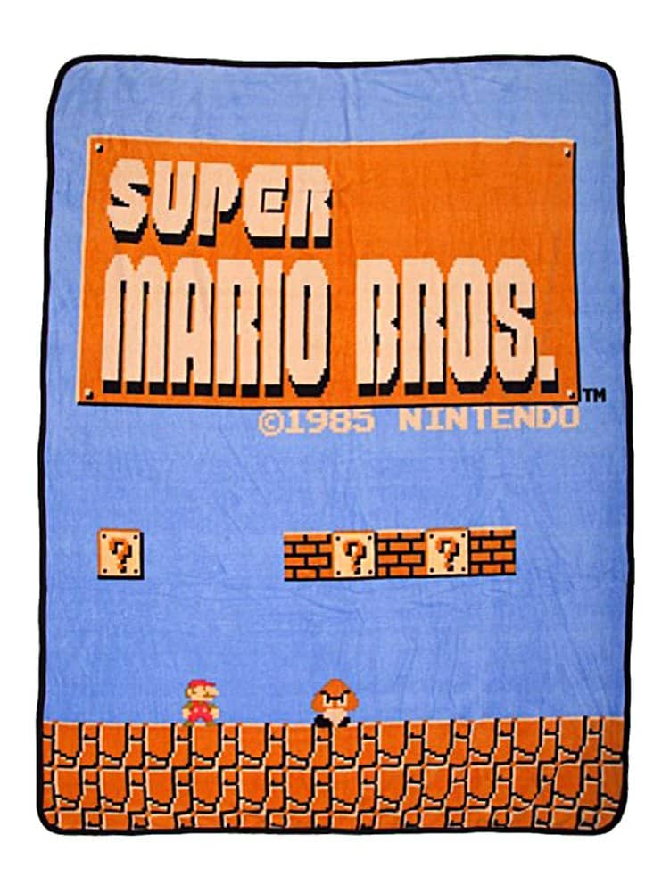 classic gifts for gamers: super mario throw blanket