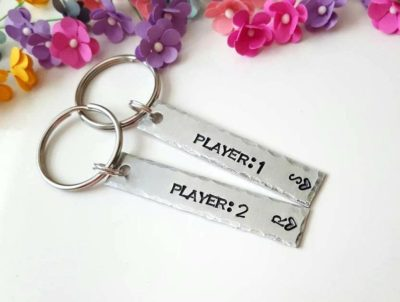 gifts for gaming boyfriend: player 1 & player 2 keychains