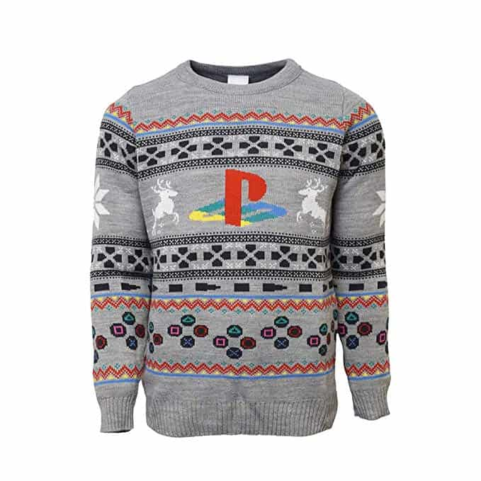 christmas gift for gamers: playstation ugly sweater
