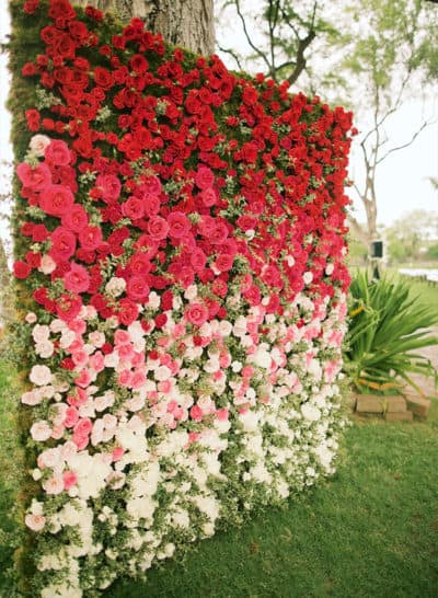 ombre floral backdrop for wedding