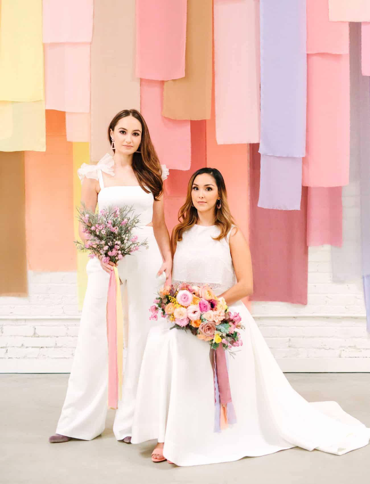 unique & modern wedding backdrop idea with pastel color theme