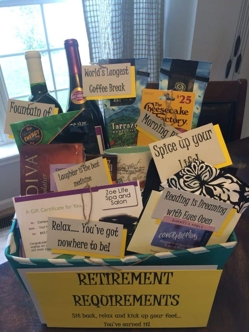 DIY retirement gift basket for teachers