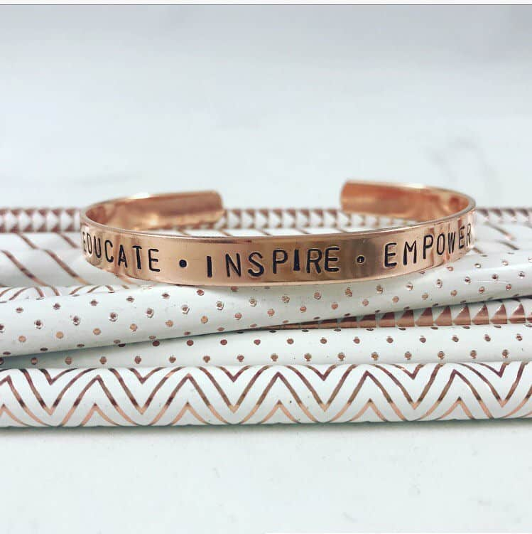 Educate, Inspire, Empower Cuff Bracelet As A Gift for retiring female teachers