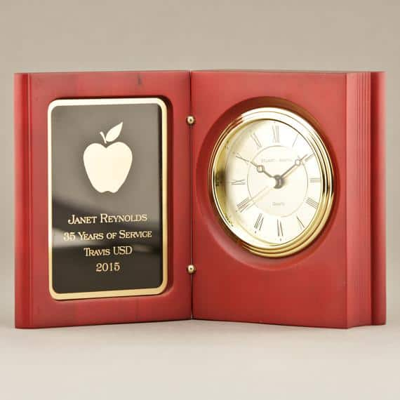 Rosewood Book Clock Gift For Retiring Teachers