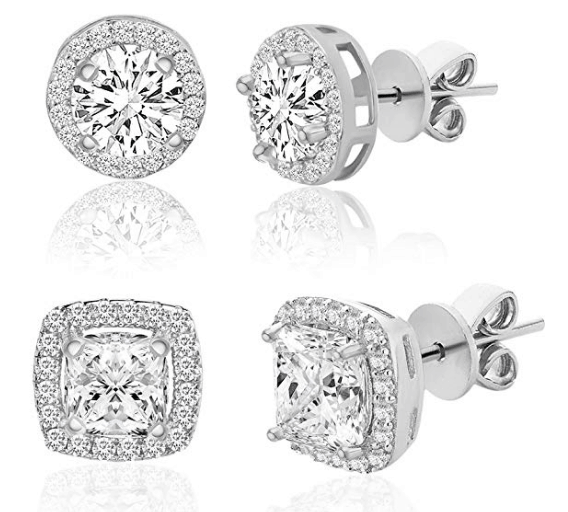 affordable mother's day gifts: Round Shaped Cubic Zirconia Stud Earrings