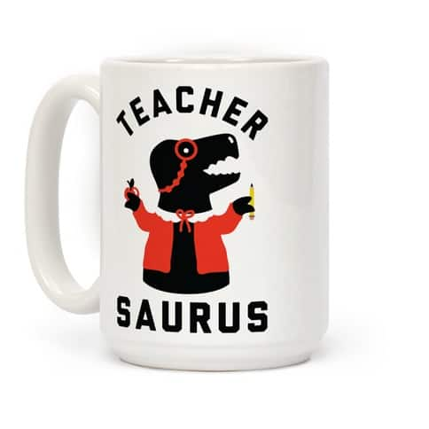 TEACHER SAURUS CARDIGAN COFFEE MUG - Funny Retirement Gifts For Female Teachers