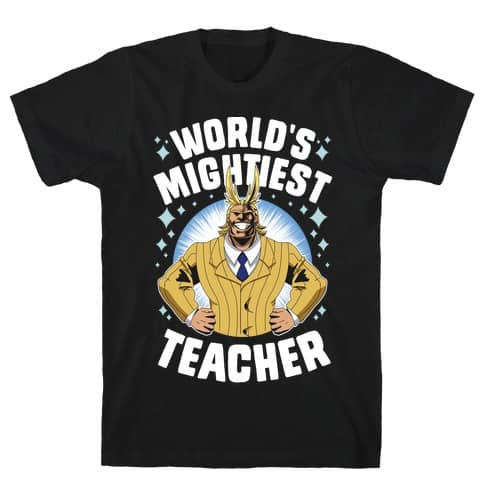 WORLD'S MIGHTIEST TEACHER T-SHIRT - Retirement Gift For Male Teachers