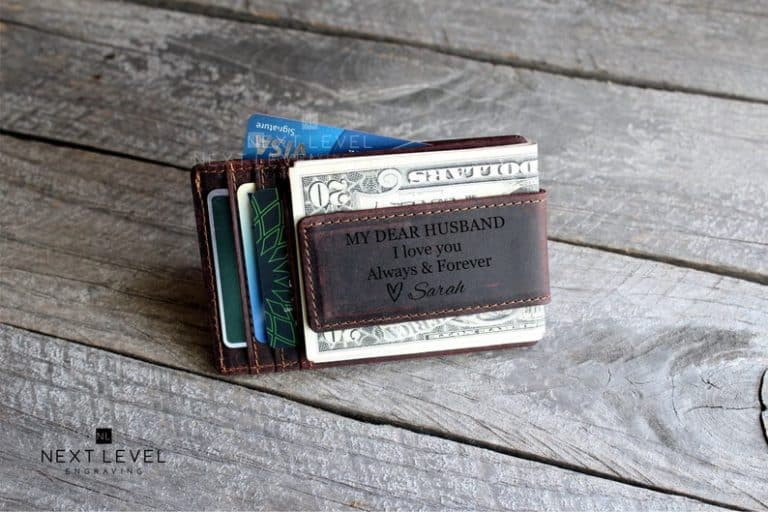 gift ideas for husband: custom leather money clip wallet