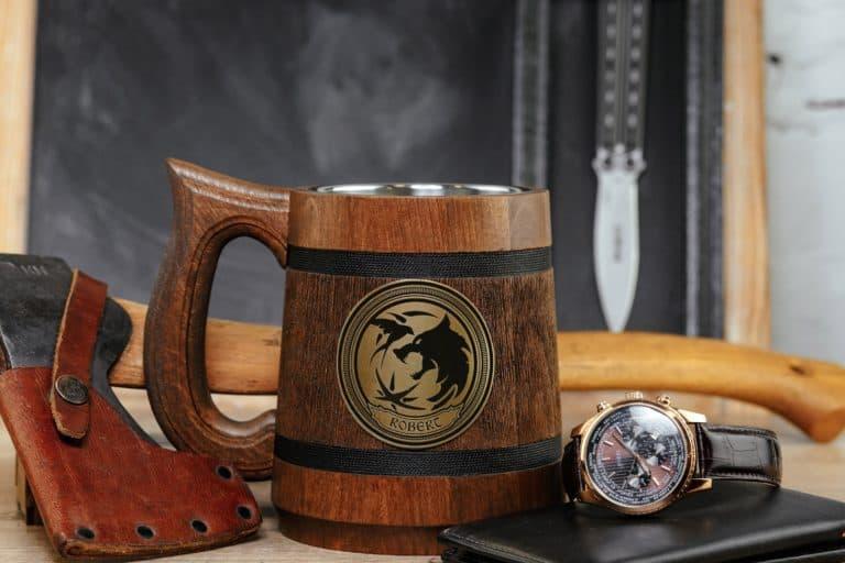 good gifts for husband: custom geeky wooden mug