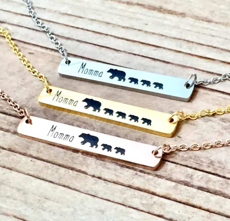 cheap good mothers day gifts: mama bear necklace