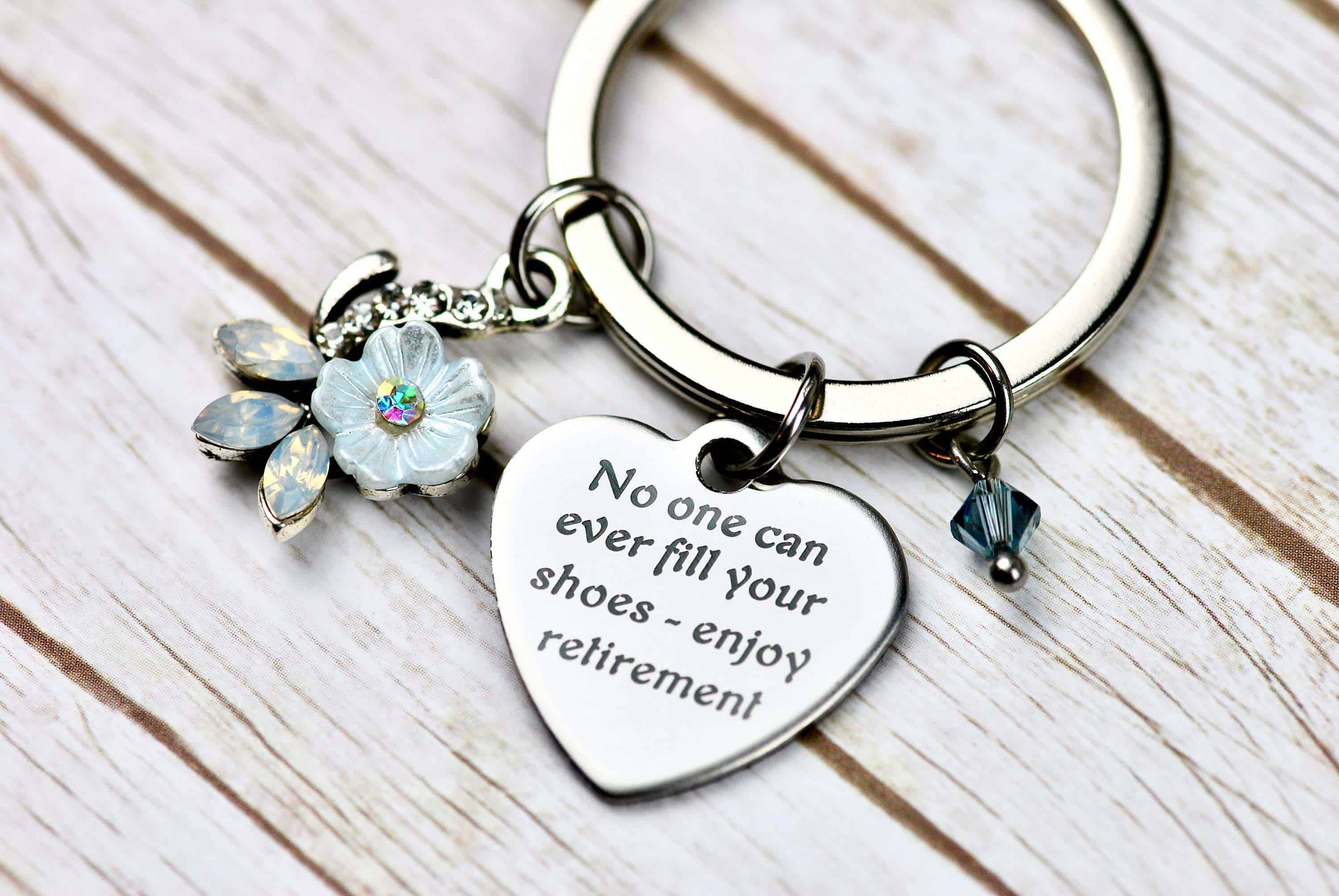 retirement keyring as a gift for female teachers