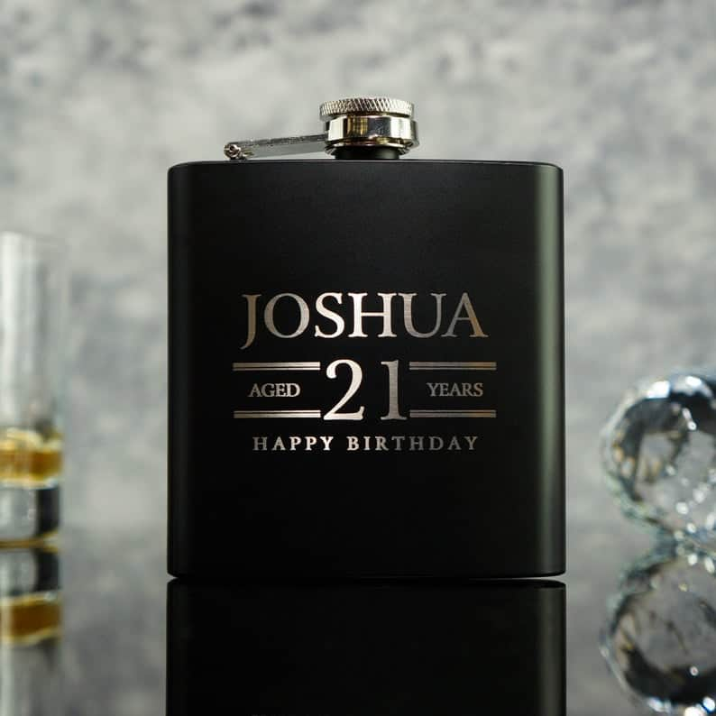 21st Birthday Gift For A Brother - Personalized 6oz Matte Black Hip Flask