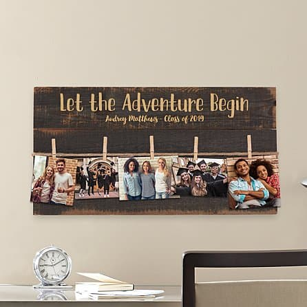 gift ideas for college students:Adventure Begins Graduation Pallet Wall Art