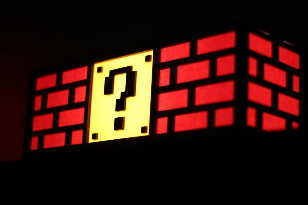 Colorful Mario Question Mark Block Lamp - Cool Gift For A Brother, Dad, Or Anyone's Man Cave