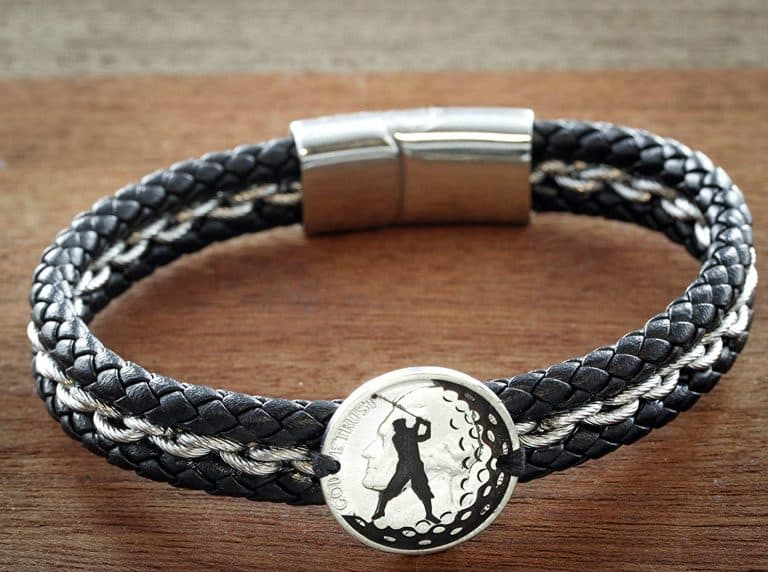 Engraved Silver Coin Sewn on a Leather Bracelet