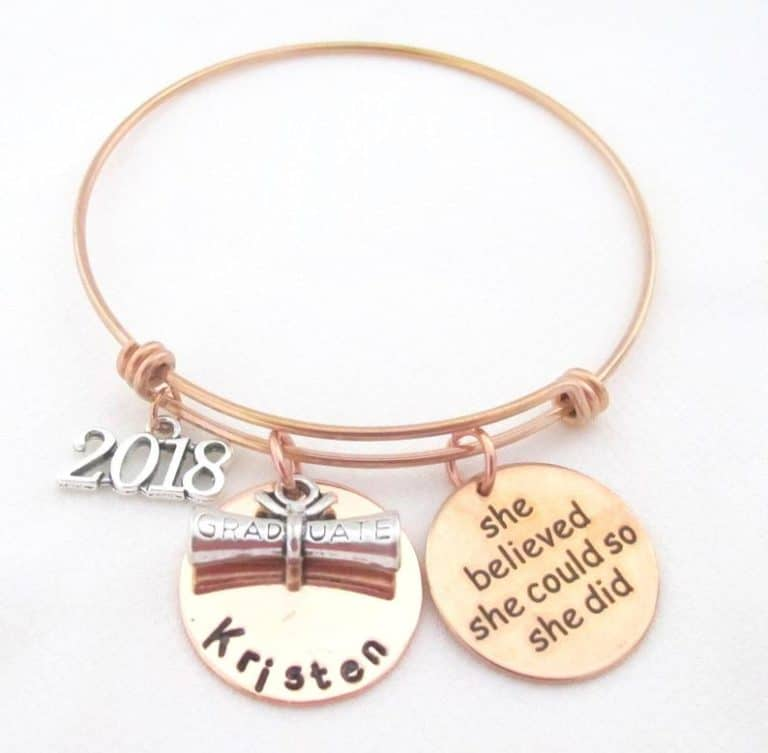 gifts for college girls:Personalized graduation Bracelet