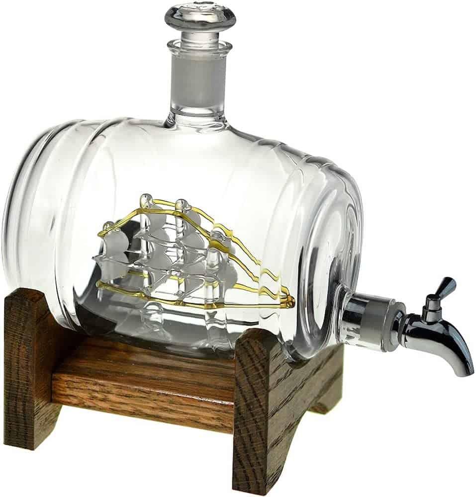 a liquid dispenser with a ship inside