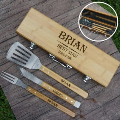 Personalized Best Man BBQ Tool Gift Set