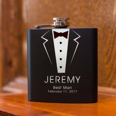 Personalized Black Hip Flask with Funnel-Best Man Flask