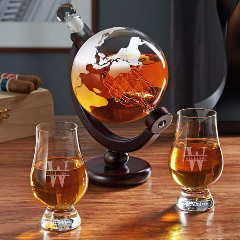 housewarming gift idea for wine lover: Personalized globe decanter set