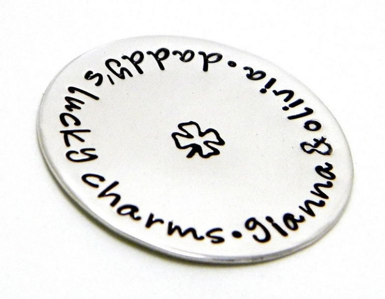 Personalized Golf Ball Marker - Hand Stamped Sterling Silver