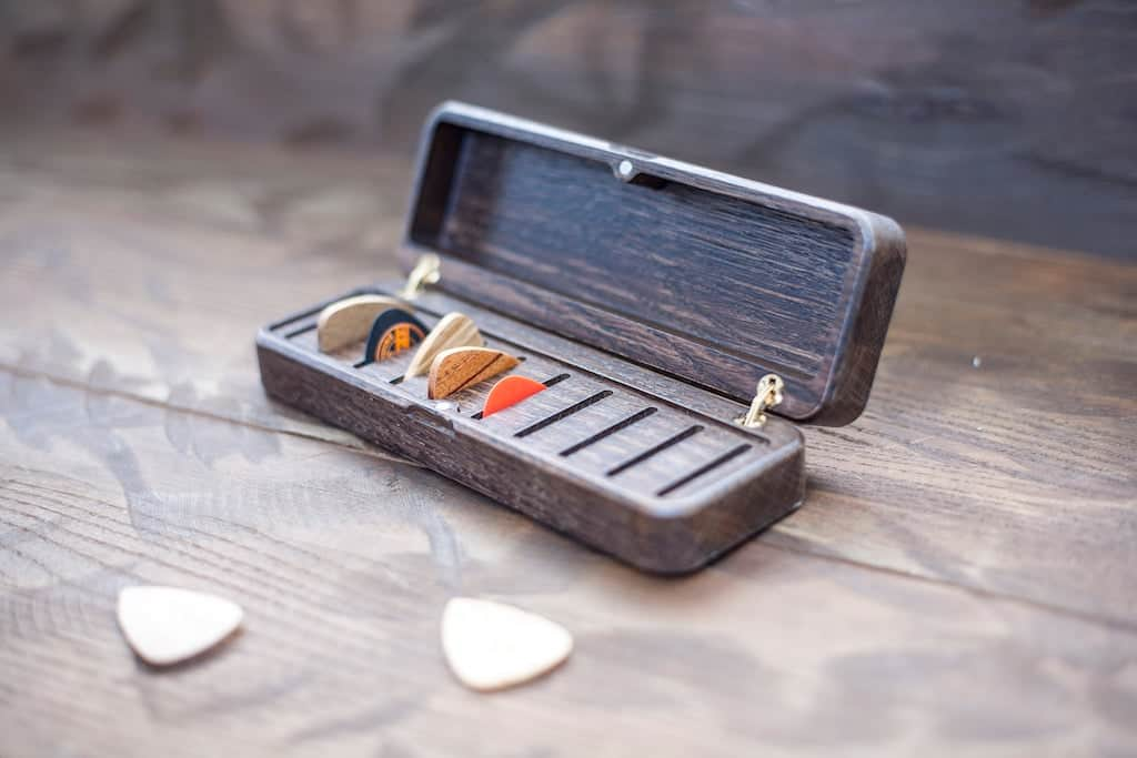 Personalized Wood Guitar Pick Box For Brother
