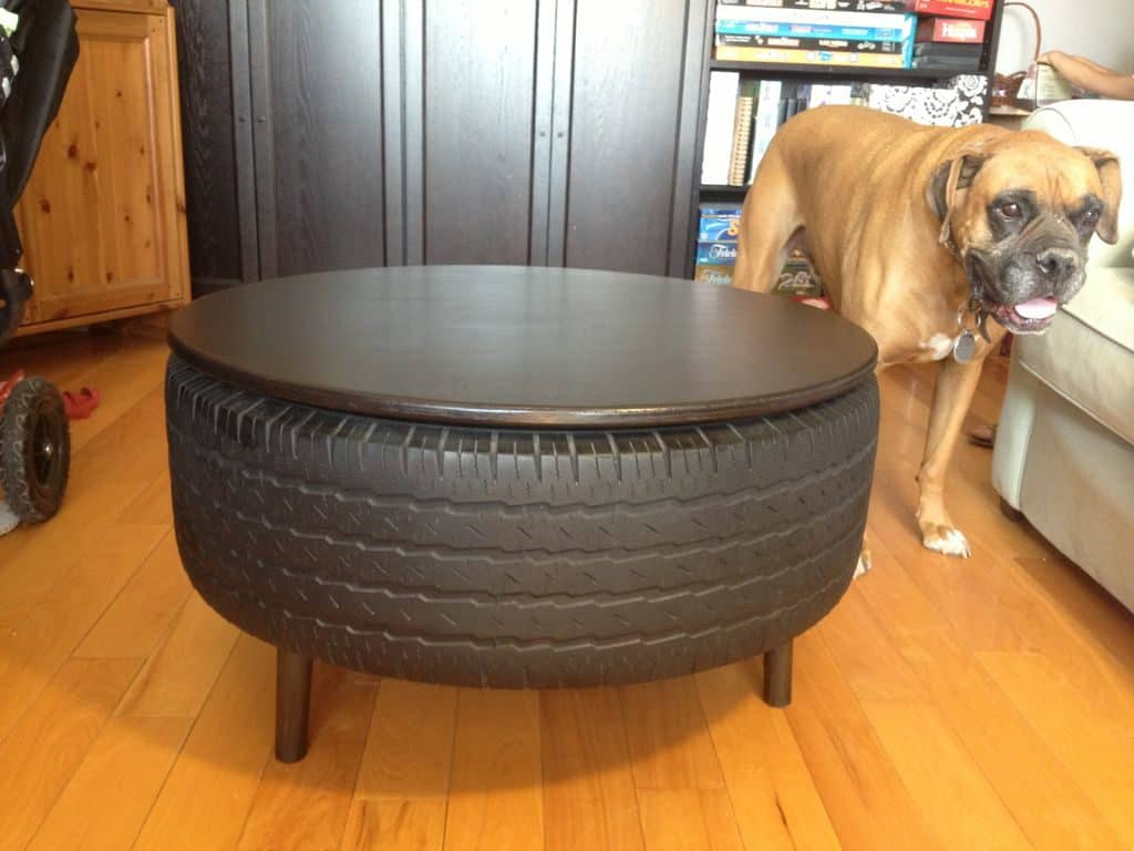 Recycled Tire Coffee Table - DIY Gift For A Man's Man Cave