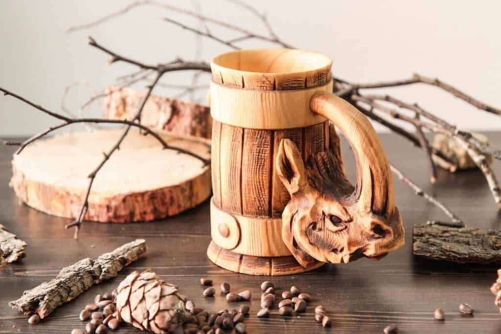 Rhinoceros Wooden Beer Mug - Man Cave Gifts