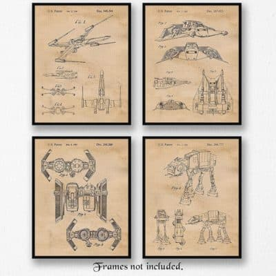 Vintage Star Wars Patent Poster Prints As A Gift For Best Man