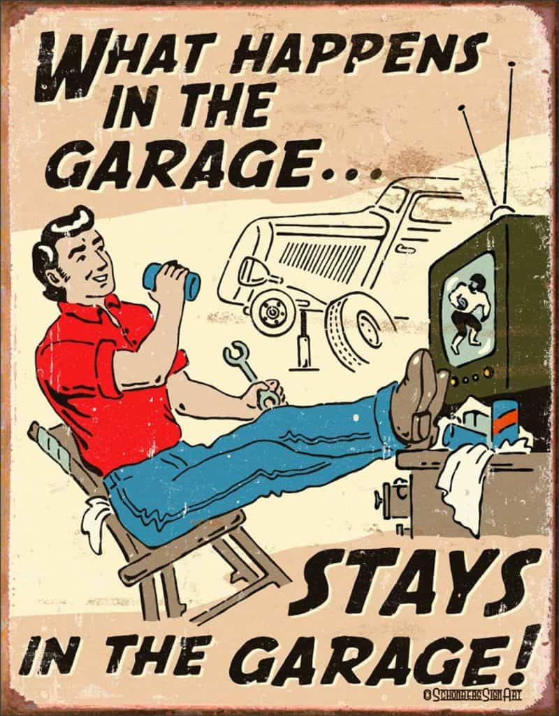 What Happens in The Garage Stays In The Garage - Funny Man Cave Poster Gift
