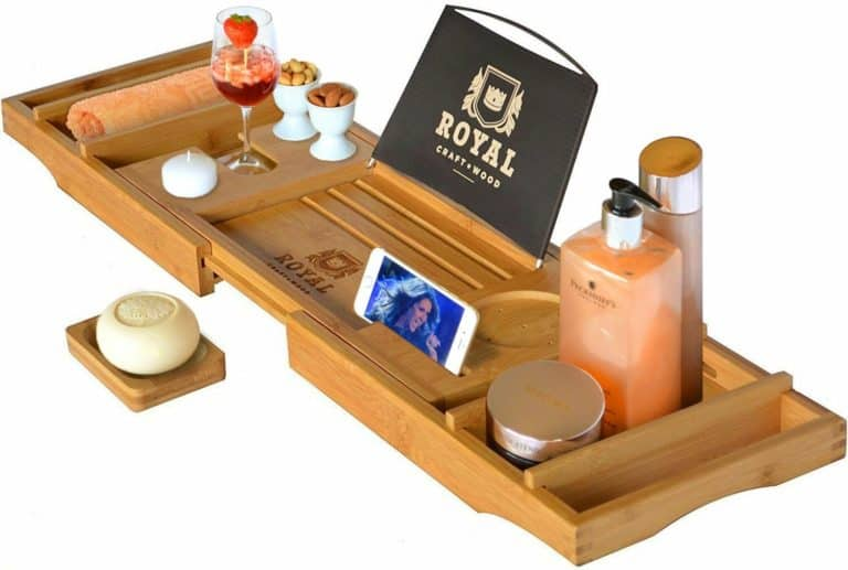 gift ideas for father in law: bathtub caddy tray
